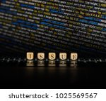 issue word on wooden cubes....   Shutterstock . vector #1025569567