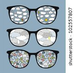 retro sunglasses with rain ... | Shutterstock .eps vector #102557807