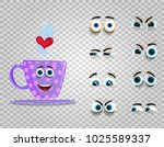 cute emoji set of lilac cup... | Shutterstock .eps vector #1025589337