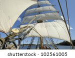 Brig in full sail - stock photo