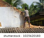 old brick wall demolishing by...   Shutterstock . vector #1025620183