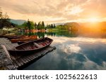 traditional wooden boats pletna ...   Shutterstock . vector #1025622613