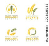 set collection wheat paddy logo | Shutterstock .eps vector #1025635153