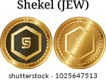 set of physical golden coin... | Shutterstock .eps vector #1025647513