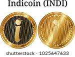 set of physical golden coin... | Shutterstock .eps vector #1025647633