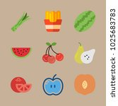 icons fruits and vegetables... | Shutterstock .eps vector #1025683783