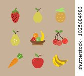 icons fruits with fruits ... | Shutterstock .eps vector #1025684983