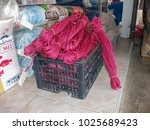 red rope in plastic box for... | Shutterstock . vector #1025689423