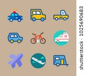 icons transport with mini car ... | Shutterstock .eps vector #1025690683