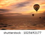 colorful balloon in twilight... | Shutterstock . vector #1025692177