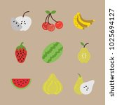 icons fruits with pear  banana  ... | Shutterstock .eps vector #1025694127