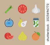 icons fruits and vegetables... | Shutterstock .eps vector #1025696773