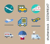 icons transport with airplane ... | Shutterstock .eps vector #1025698147