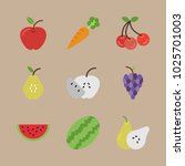 icons fruits with cherries ... | Shutterstock .eps vector #1025701003