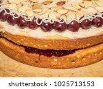 cherry bakewell cake delicious...   Shutterstock . vector #1025713153