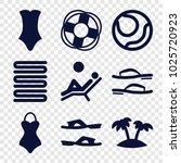 beach icons. set of 9 editable... | Shutterstock .eps vector #1025720923