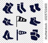 sock icons. set of 9 editable... | Shutterstock .eps vector #1025722603