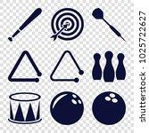 hit icons. set of 9 editable... | Shutterstock .eps vector #1025722627