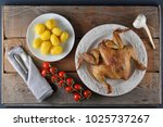 fried chicken and boiled...   Shutterstock . vector #1025737267