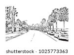 downtown with road and building ... | Shutterstock .eps vector #1025773363