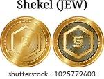 set of physical golden coin... | Shutterstock .eps vector #1025779603