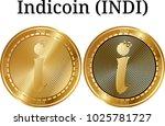set of physical golden coin... | Shutterstock .eps vector #1025781727