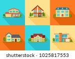 set of modern city cottage... | Shutterstock .eps vector #1025817553