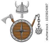 viking armor set   helmet ... | Shutterstock .eps vector #1025824087