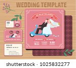 set of wedding invitations... | Shutterstock .eps vector #1025832277