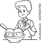 boy eating ice cream | Shutterstock .eps vector #1025833783