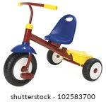 Colourful tricycle on a white background. Clipping path included. - stock photo