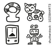 icons hand drawn toys. vector... | Shutterstock .eps vector #1025844973