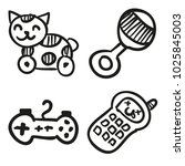 icons hand drawn toys. vector... | Shutterstock .eps vector #1025845003