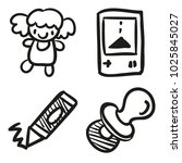 icons hand drawn toys. vector... | Shutterstock .eps vector #1025845027