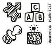 icons hand drawn toys. vector... | Shutterstock .eps vector #1025845033