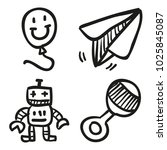 icons hand drawn toys. vector... | Shutterstock .eps vector #1025845087