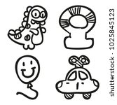 icons hand drawn toys. vector... | Shutterstock .eps vector #1025845123