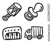 icons hand drawn toys. vector... | Shutterstock .eps vector #1025845207