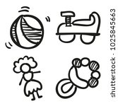 icons hand drawn toys. vector... | Shutterstock .eps vector #1025845663