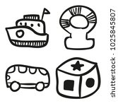 icons hand drawn toys. vector... | Shutterstock .eps vector #1025845807