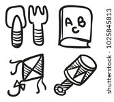 icons hand drawn toys. vector... | Shutterstock .eps vector #1025845813