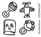 icons hand drawn toys. vector... | Shutterstock .eps vector #1025846287