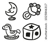 icons hand drawn toys. vector... | Shutterstock .eps vector #1025846317