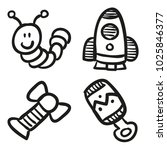 icons hand drawn toys. vector... | Shutterstock .eps vector #1025846377