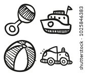 icons hand drawn toys. vector... | Shutterstock .eps vector #1025846383