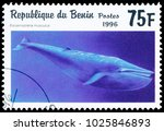 Small photo of BUDAPEST, HUNGARY - 11 february 2018: A stamp printed in Benin showing Blue Whale (Balaenoptera musculus), circa 1996