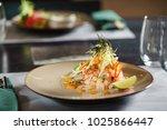 fish tartar in the restaurant | Shutterstock . vector #1025866447