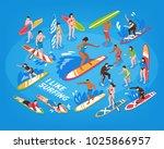 surfing isometric blue... | Shutterstock .eps vector #1025866957
