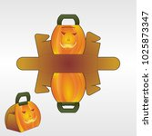 pumpkin box with blueprint... | Shutterstock .eps vector #1025873347