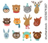 winter xmas happy animals... | Shutterstock . vector #1025879287